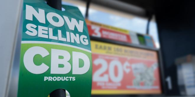 a gas station advertising CBD products